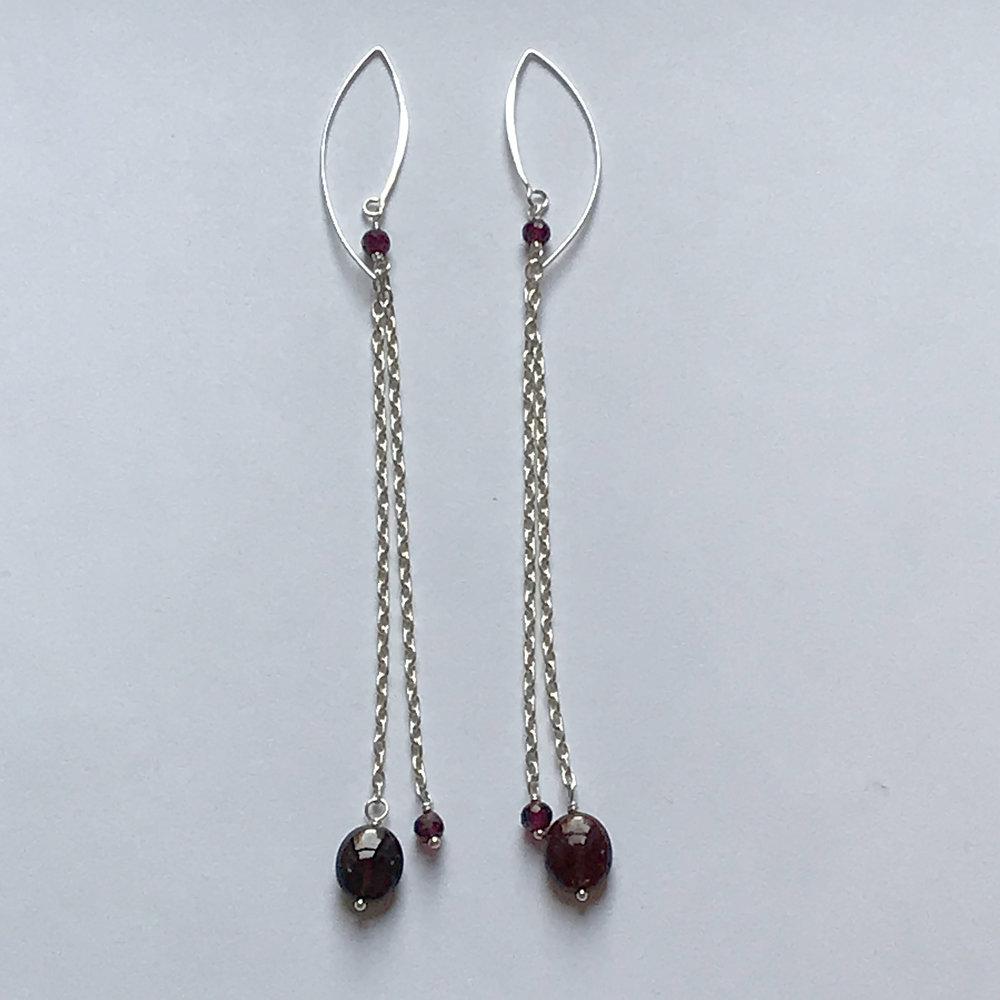 $225 Sterling Silver Garnet Earrings