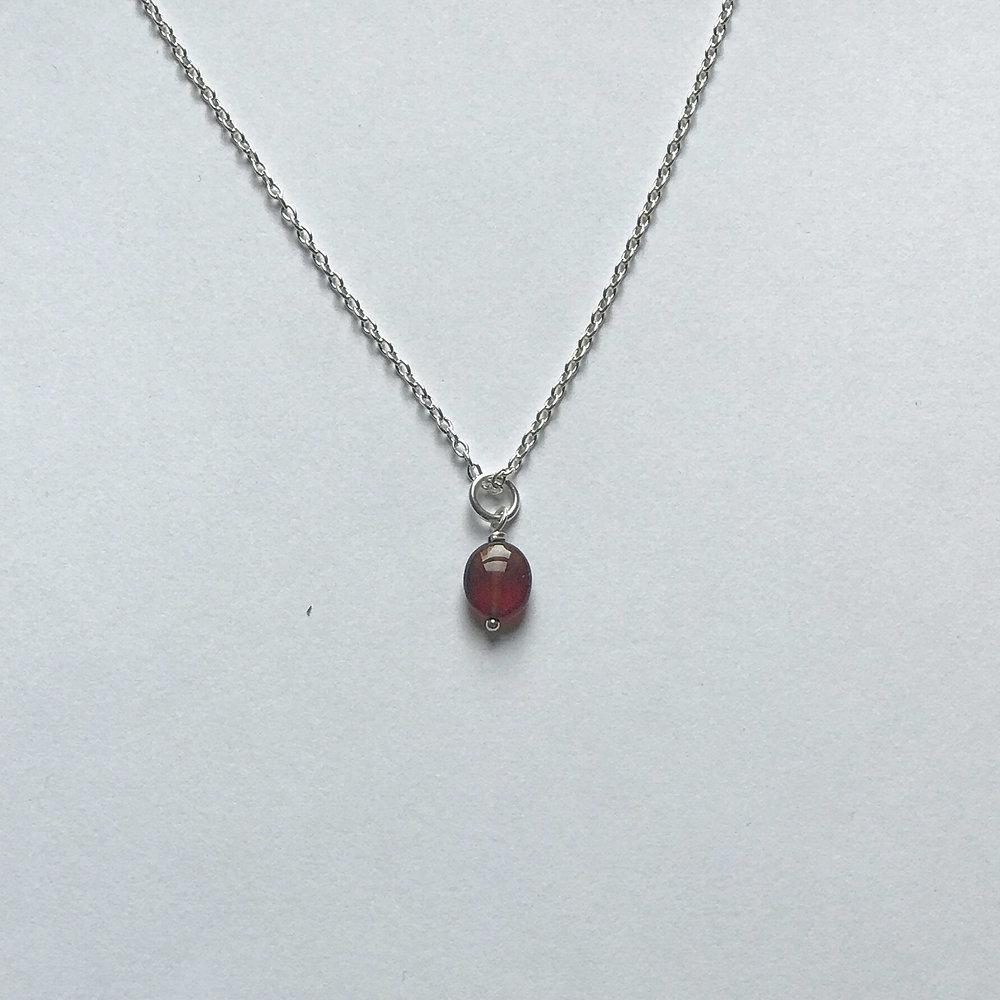 "$175 Sterling Silver Garnet Necklace 16"""