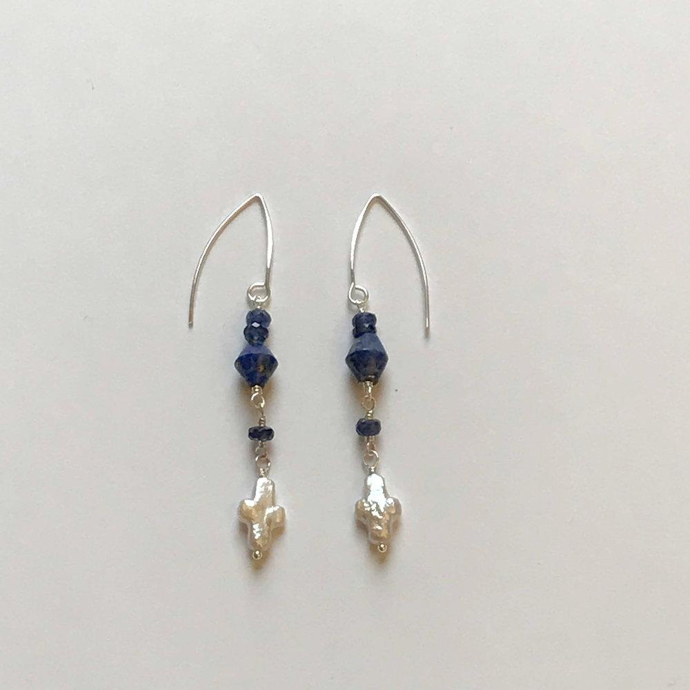 $155 Sterling Silver Lapis Kyanite Fresh Water Pearl Cross Earrings