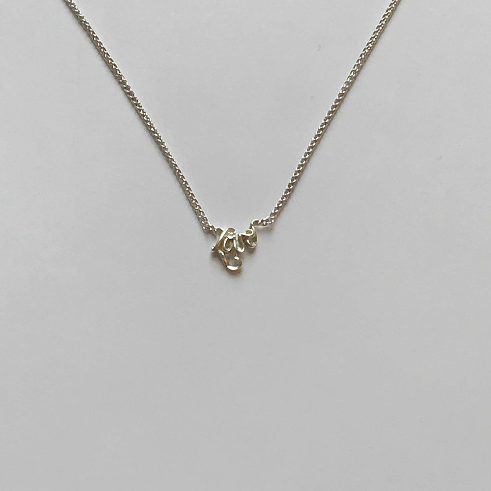 """$75 Sterling Silver Love Necklace 18"""""""