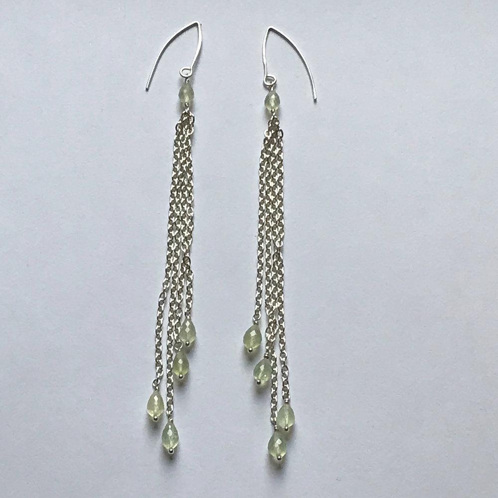 $275 Sterling Silver Peridot Dangle Earrings