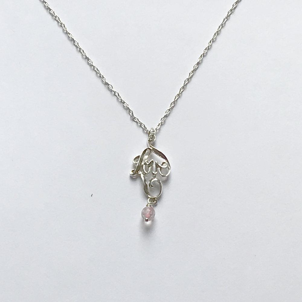 "$275 Sterling Silver Rose Quartz Love Pendant Necklace 18"""