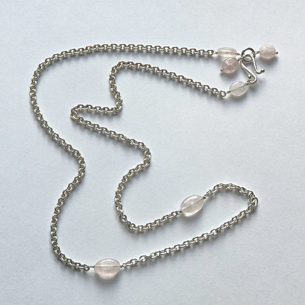 "$225 Sterling Silver Rose Quartz Necklace 22"""