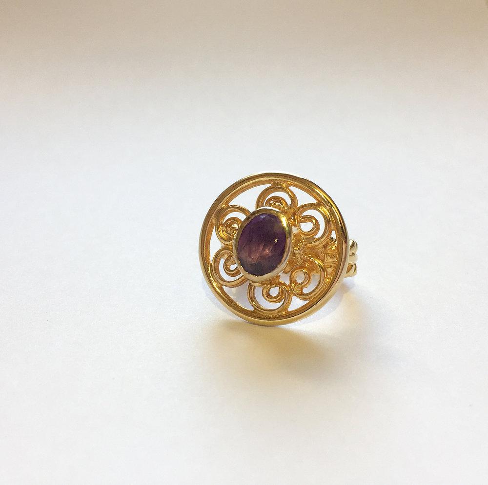 $250 Vintage Distefano Amethyst & Sterling Vermeil Ring Size 8.5
