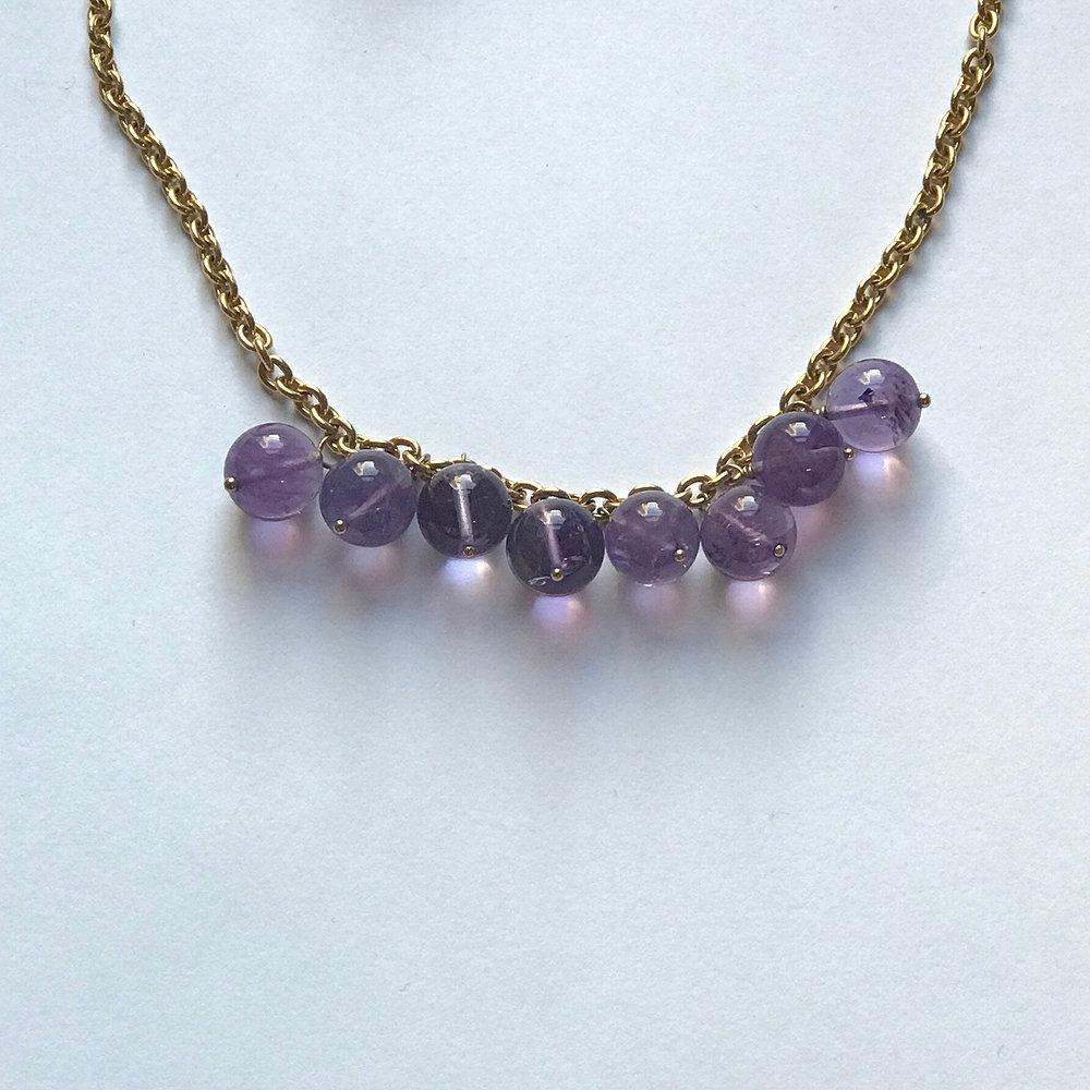 "$250 Vermeil Amethyst Necklace 20"" Chain"
