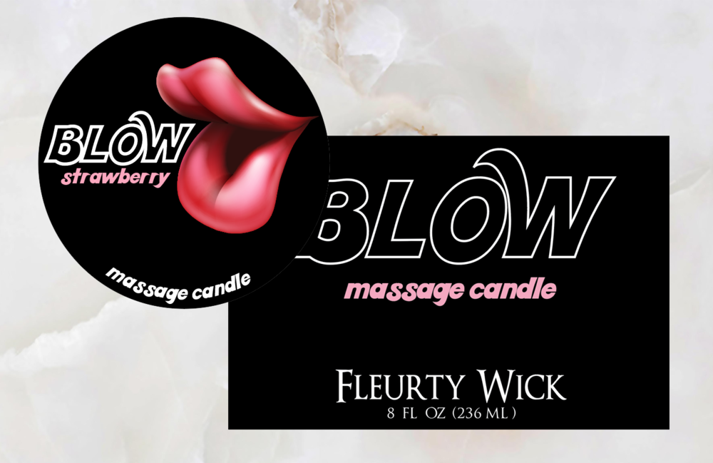 Blow Massage Candle Label Design for Fleurty Wick Candle Co.