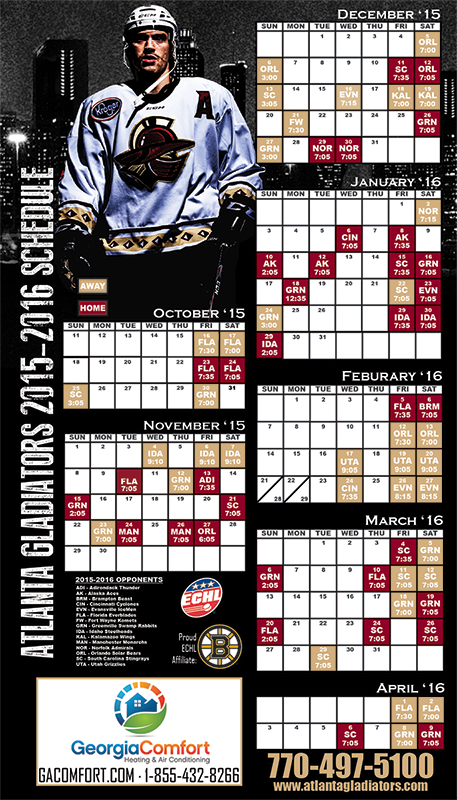 Magnetic Schedule Artwork Designed for the Atlanta Gladiators