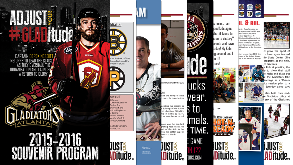 Layout, Design, and Copywriting of Entire Souvenir Program for the Atlanta Gladiators