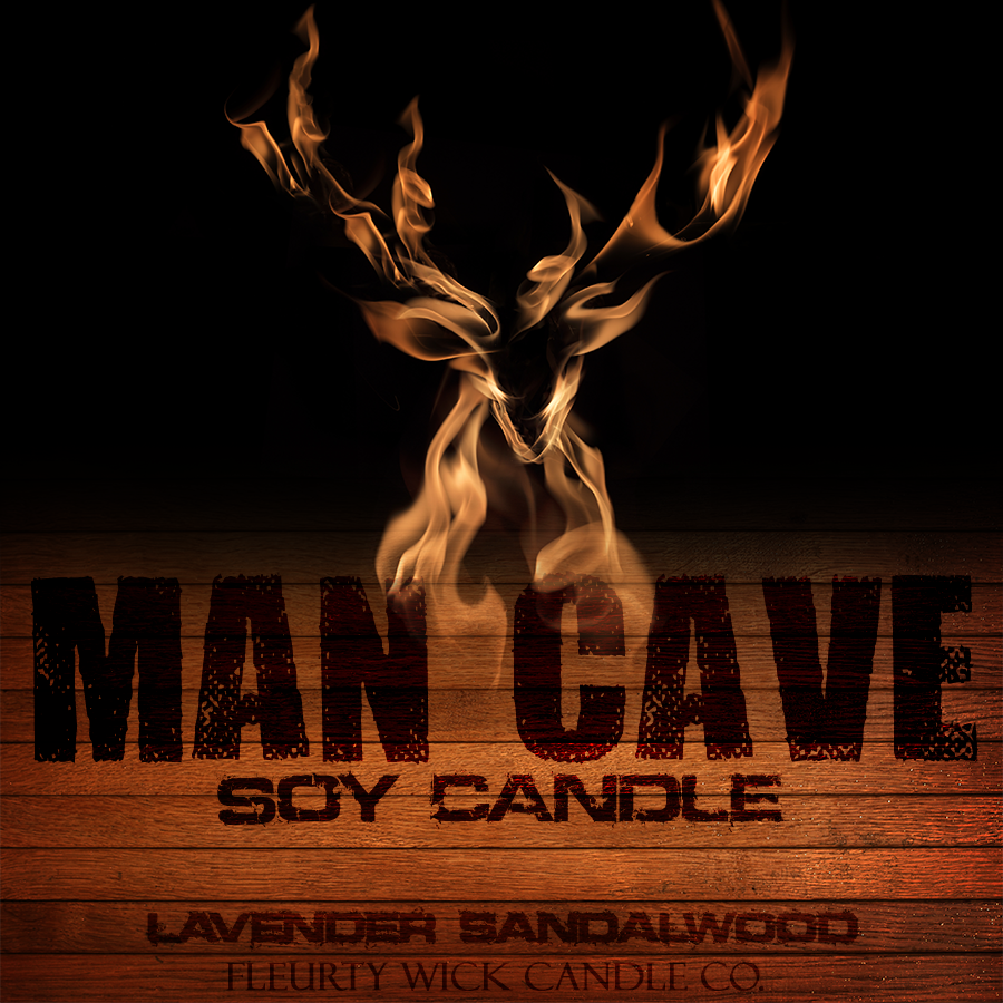 Man Cave Product Line Label Design for Fleurty Wick Candle Co.
