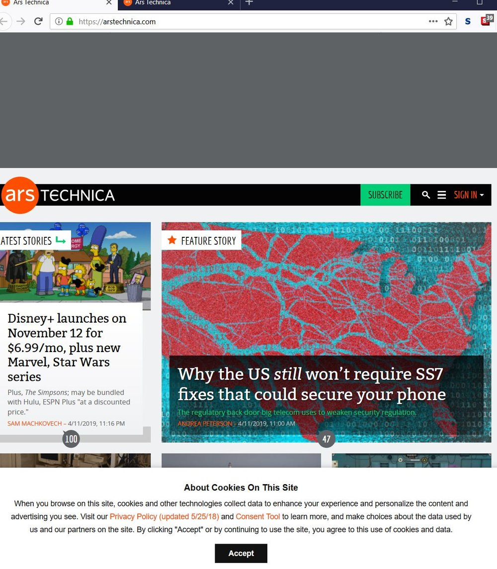 Ars Technica when not a paid member
