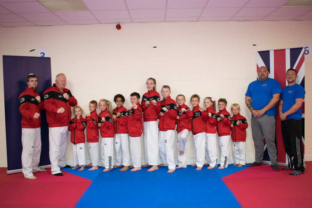 Kangchul Black Belt Academy Fight Team with their brand new tracksuit tops supplied by Force Fusion pro Audio.....