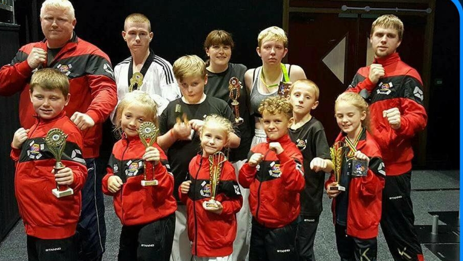 KBBA fight team at barnsley metrodome with their awesome new tracksuits on, great day for the team 8 golds & 2 silvers