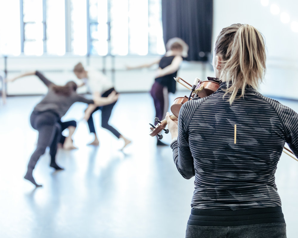 Sarah in rehearsal at Banff Centre for Arts and Creativity. Photography by Jeremy Mimnagh.