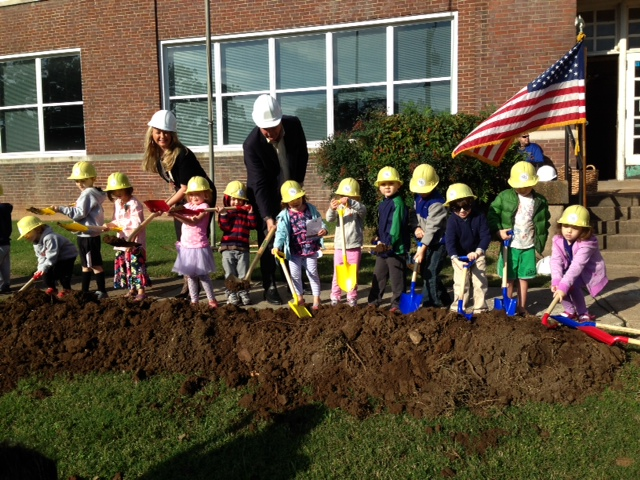 Kids, mayor, principal groundbreaking
