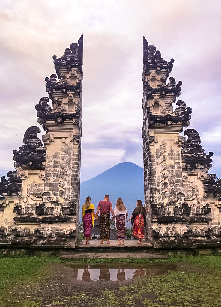 Gates of Heaven and Mount Agung at Sunrise