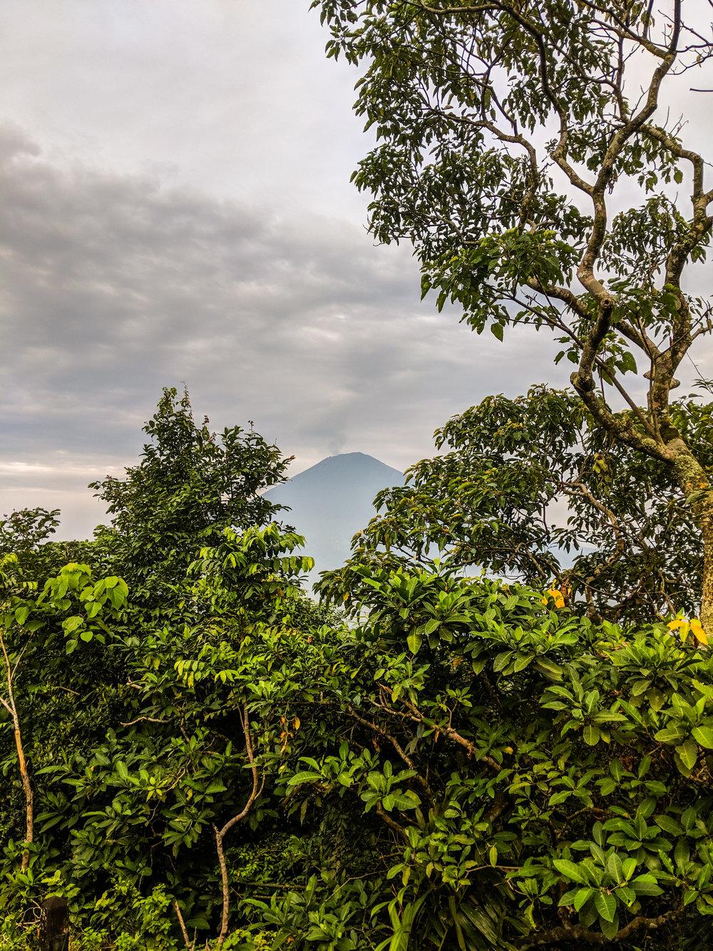 View of Mount Agung on Mount Lempuyang