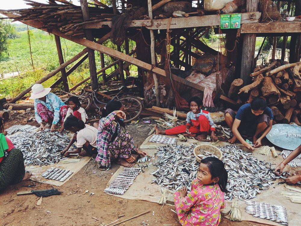 Fishing Village Children Sorting Fish