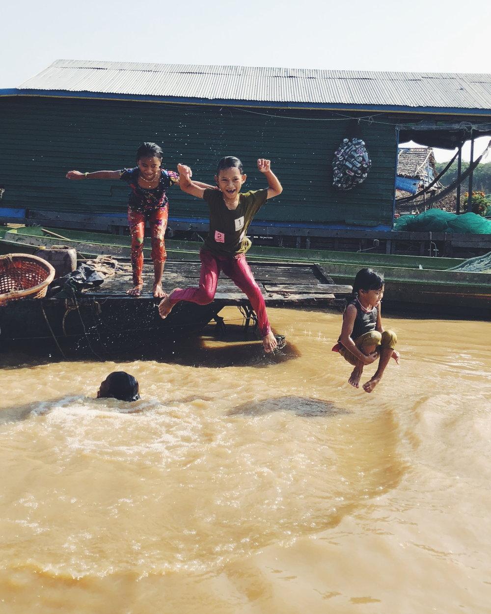 Kids Playing in Tonle Sap