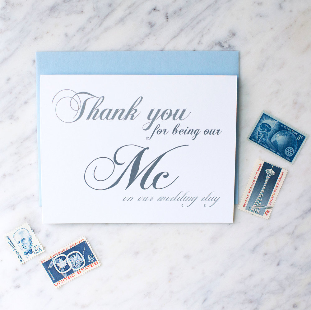 thank you for being our mc on our wedding day card rock candie designs