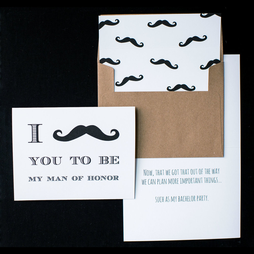 Vintage I Mustache You Card