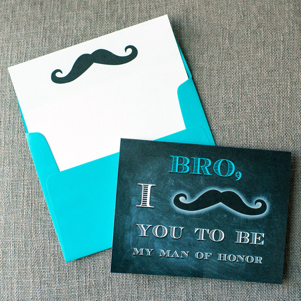 I Mustache You - Blue Bro Card