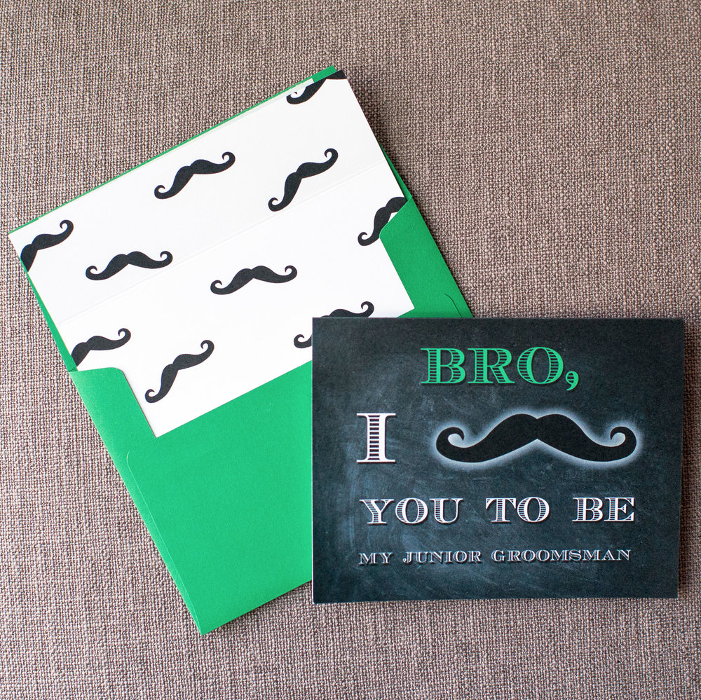 I Mustache You - Green Bro Card