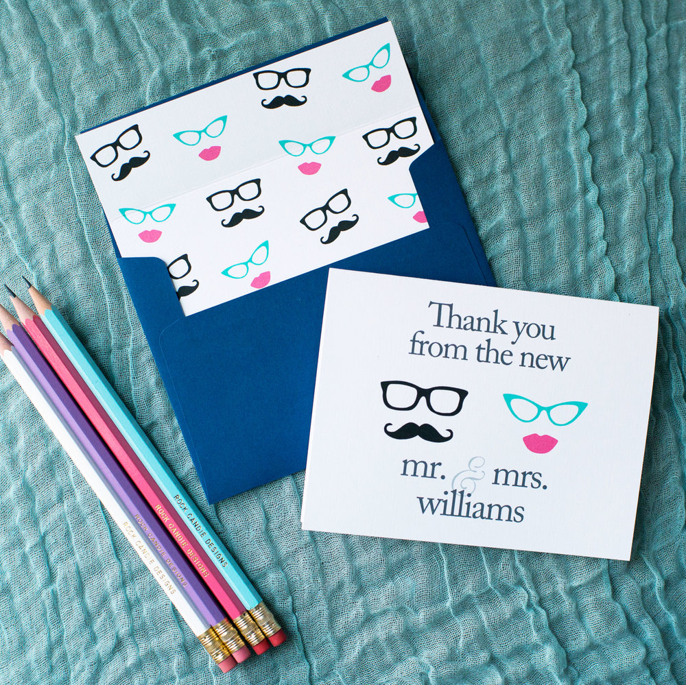 Customized Mustache & Lips Stationery Set