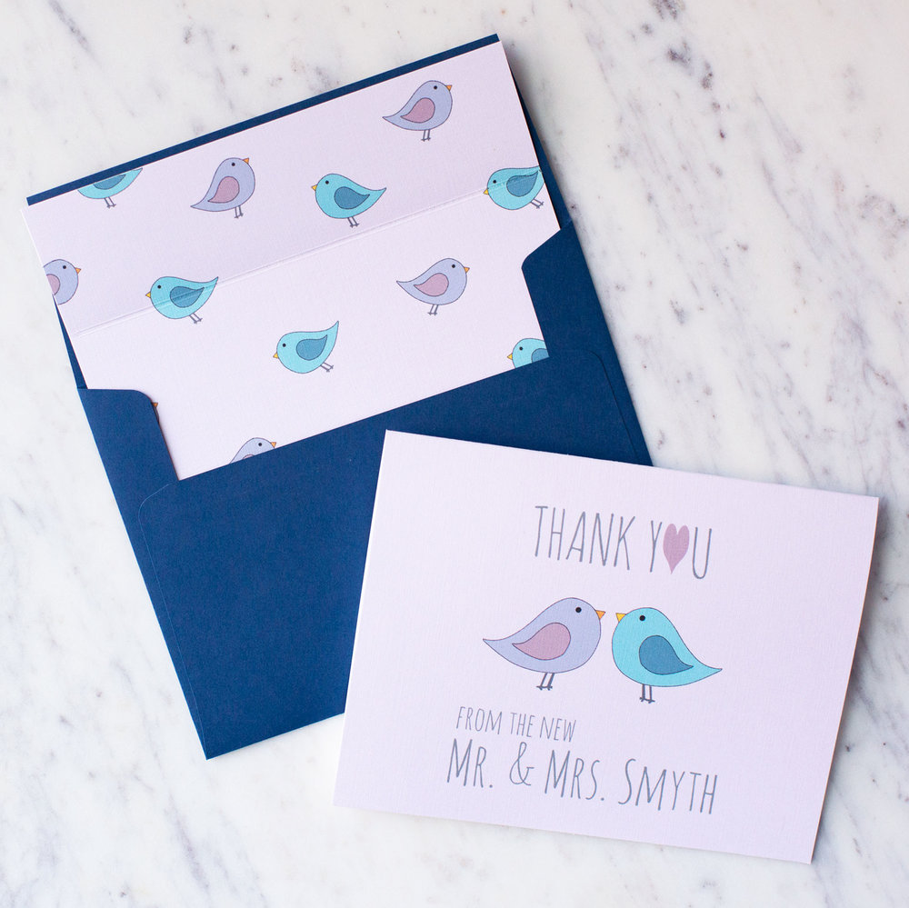 Thank You From The New Love Birds Stationery Set in Pink