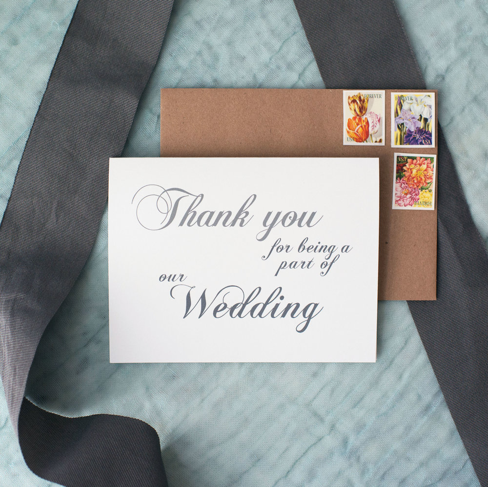 Thank You For Being a Part of Our Wedding Card