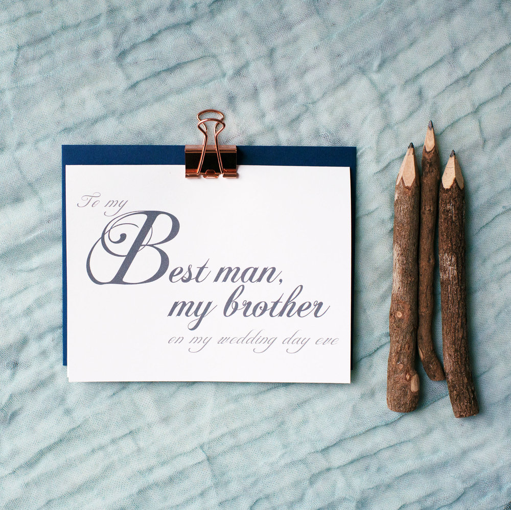 To My Best Man, My Brother On My Wedding Day Eve Card