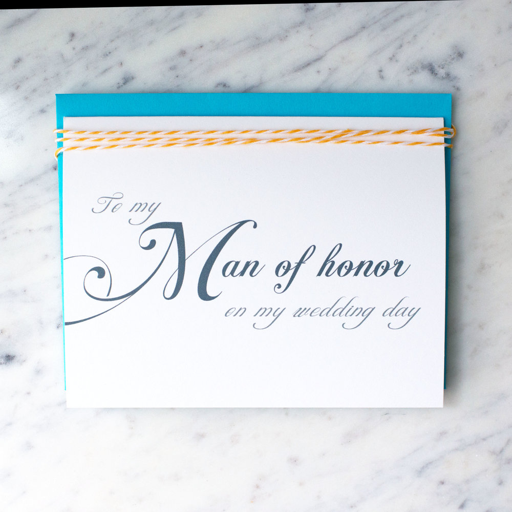 To My Man of Honor on My Wedding Day Card