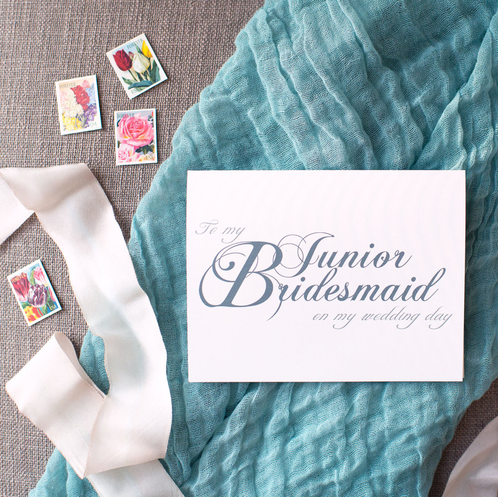 To My Junior Bridesmaid On My Wedding Day Card