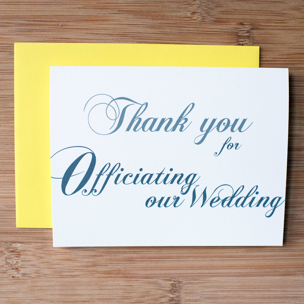 Thank You for Officiating Our Wedding Card