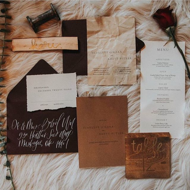 When you have a little leeway and a love for antique and classic novels.  Feeling these Scarlett O'Hara vibes. Especially the intentionally crinkled texture of the invitation. Ooh GIRL. . . SO. You know how I was discussing icky sickies in my house? Apparently my girl is an over achiever, and has not one, but now TWO ear infections. And a sinus infection. Goodness me. Send all the wine! . . . #etuiandco #bohowedding #bohobride #boho #bohostyle #organiccalligraphy #modernwedding #moderncalligraphy #indiewedding #indiebride #alternativebride #alternativewedding #2018bride #2019bride #styledshoot #fineartweddingphotography #fineartstationery #bespokedesign #bespokeinvitations #custominvitations #customstationery #perfectlyimperfect #junebugweddings #greenweddingshoes #stationerydesign #stationary #stationery #scarlettohara #rhettandscarlett #gonewiththewind