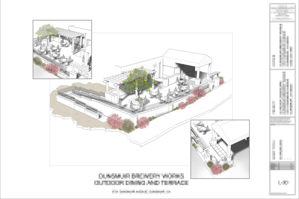 Conceptual Drawing for a Brewery Dining Patio and Terrace