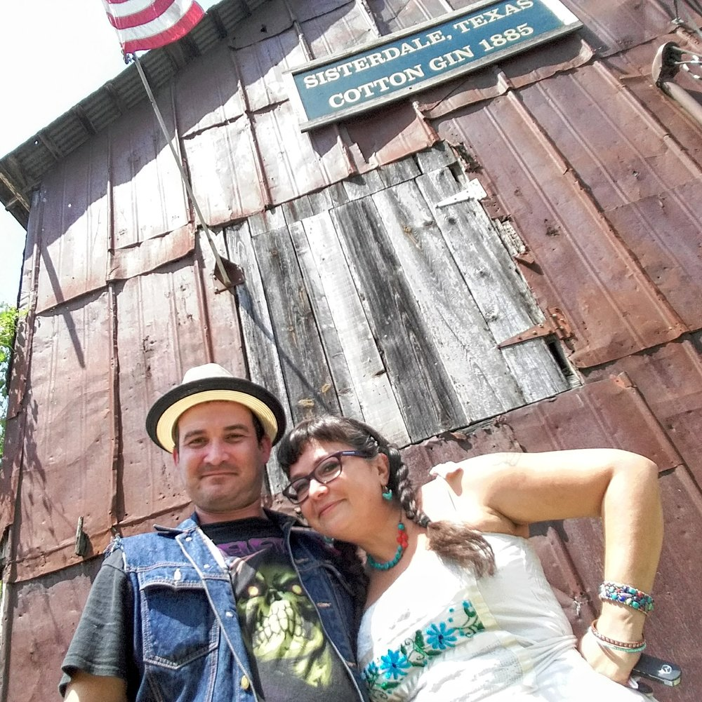 Daisy & Buck (DJ EPSR & Missy Martinez) at Sister Creek Vineyards.  Sisterdale, Tx. Texas Hill Country Road Trip. August 2017.
