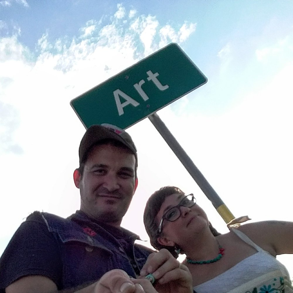 Daisy & Buck (DJ EPSR & Missy Martinez) being artsy in Art, Tx. Texas Hill Country Road Trip. August 2017.