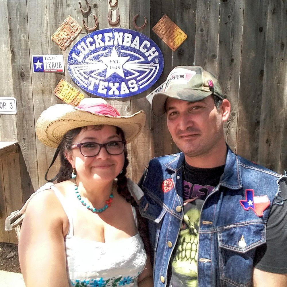 Daisy & Buck (DJ EPSR & Missy Martinez) at Luckenbach, Tx.  Everyone is Someone in Luchenbach. Texas Hill Country Road Trip. August 2017.