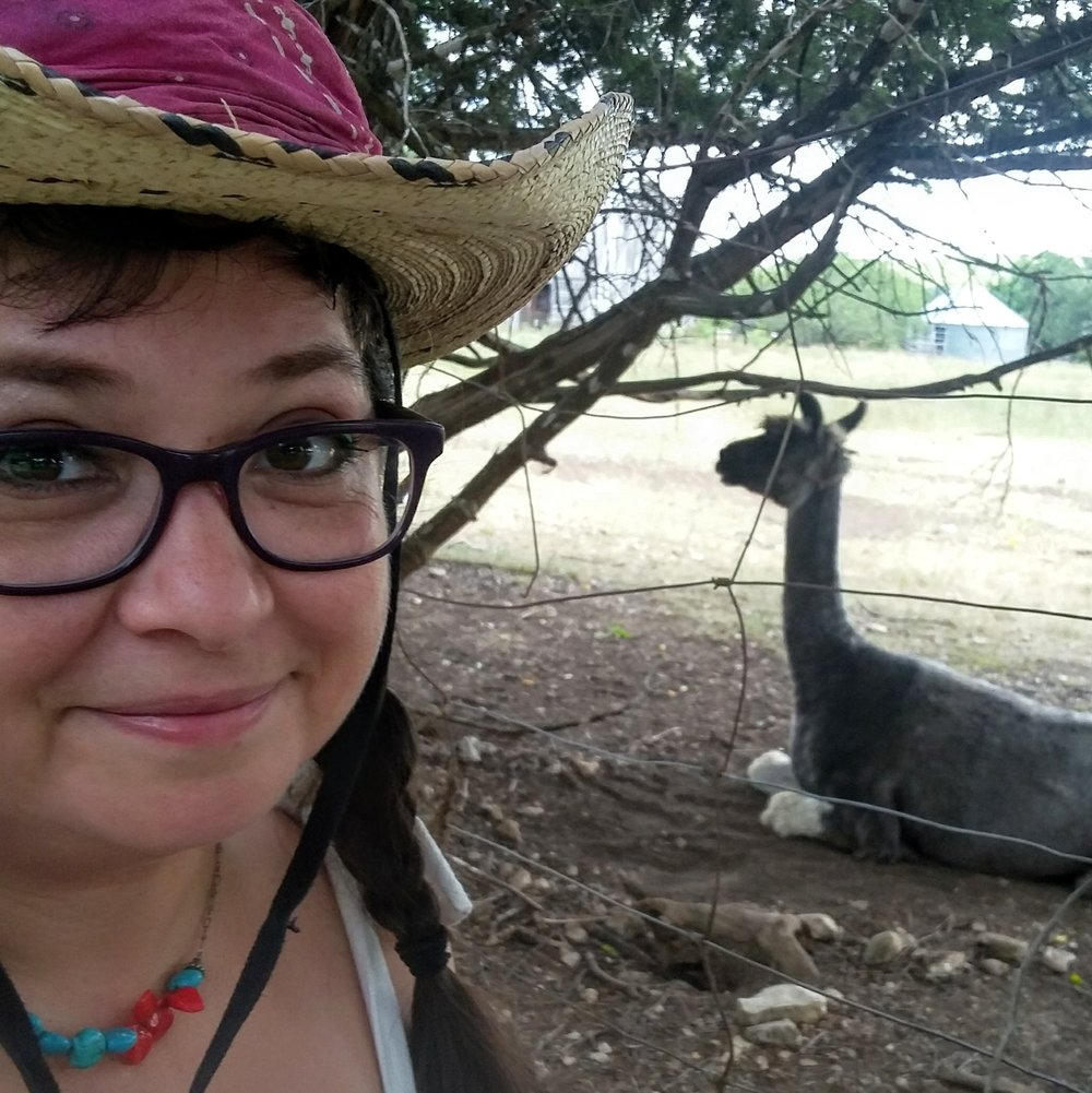 Daisy & Buck (DJ EPSR & Missy Martinez). Missy loves llamas! Texas Hill Country Road Trip. August 2017.