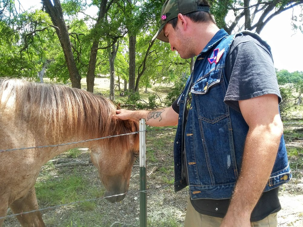 Daisy & Buck.  DJ EPSR. Horses.  Texas Hill Country Road Trip. August 2017.