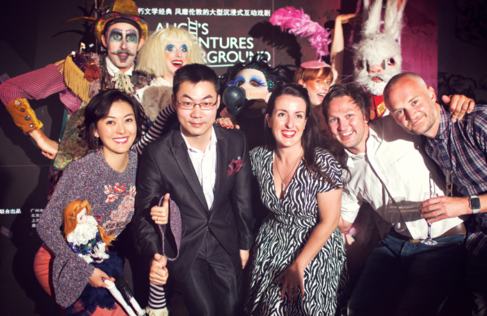 Chinese producers Xie Yi and Li Dian, UK producer Emma Brunjes and James Seager and Oliver Lansley of Les Enfants Terribles.  Credit  The Stage