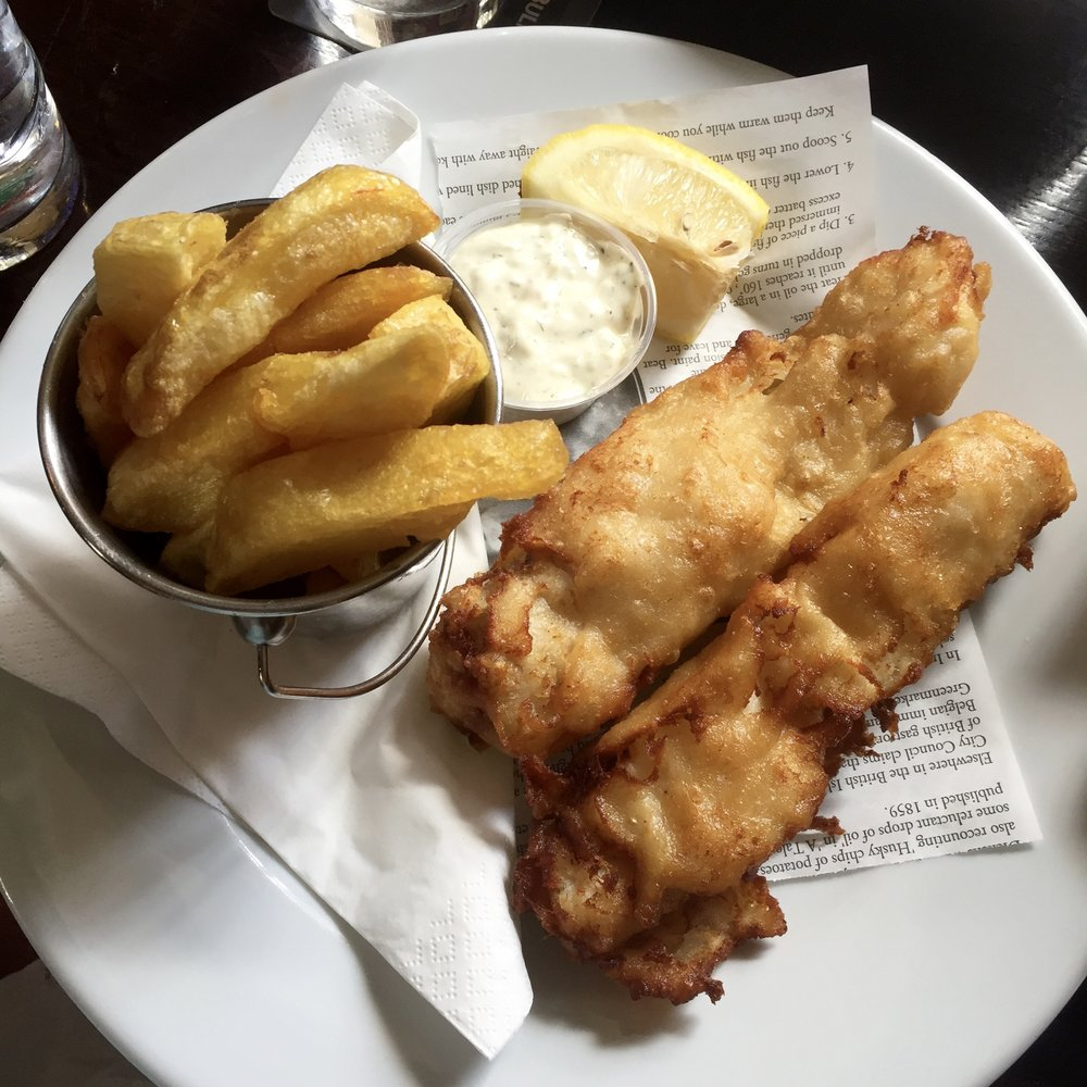 The fish and chips at the Brazen Head.
