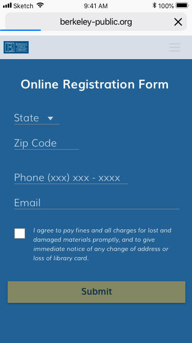 Registration form continued (scrolled down)
