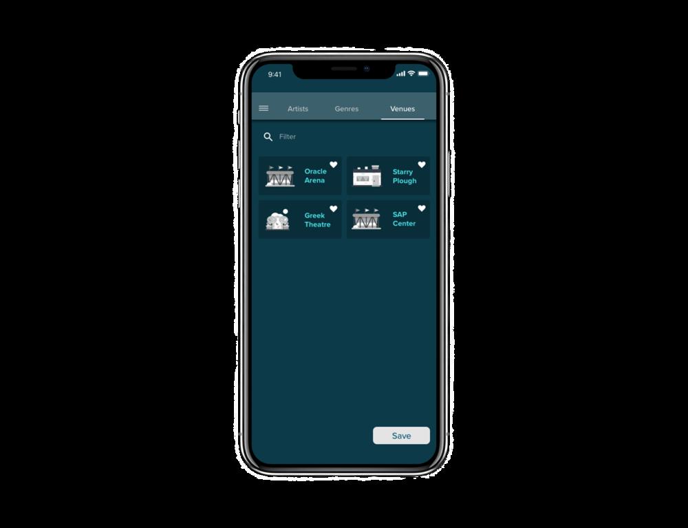 Preferences > Venue   Tab bar to facilitate navigation on page