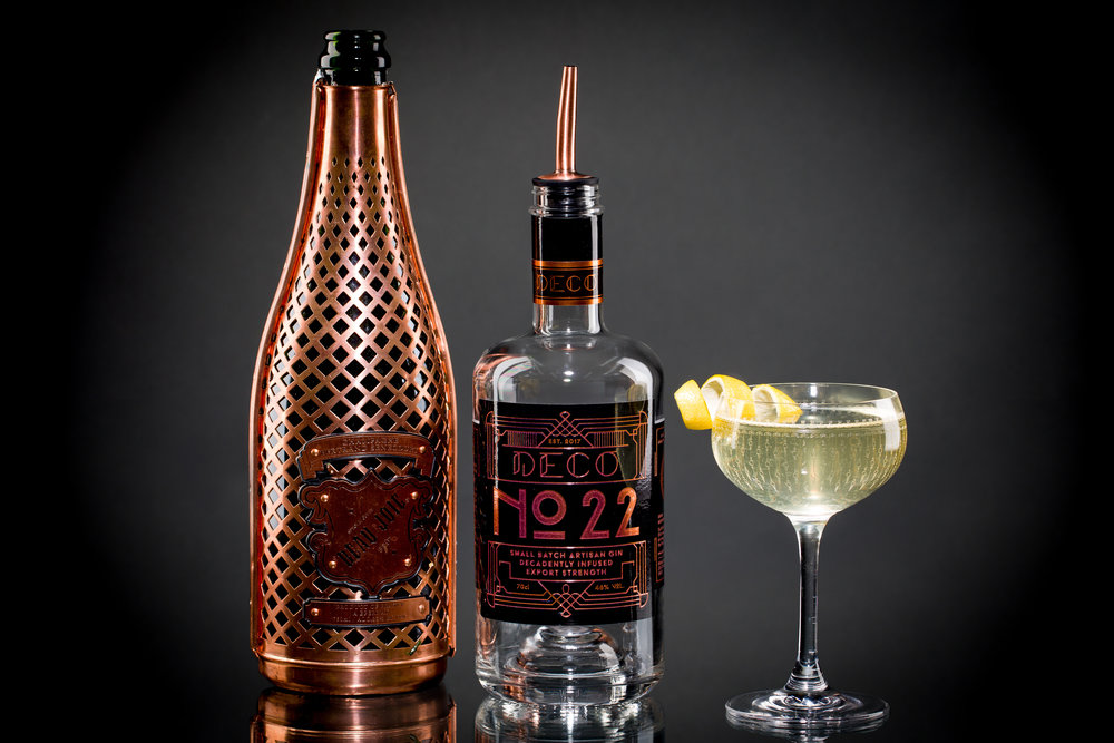 french 75 1920's cocktail with Deco No.22 gin and Baeu Joie champagne