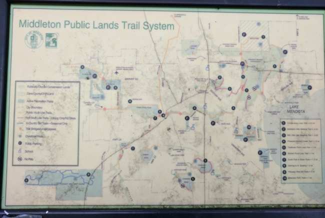 I didn't have a lot of time this morning, but as you can tell, the trail network is much bigger than I was able to experience today! Further info at the page for Middleton's Conservancy Lands and Trails.