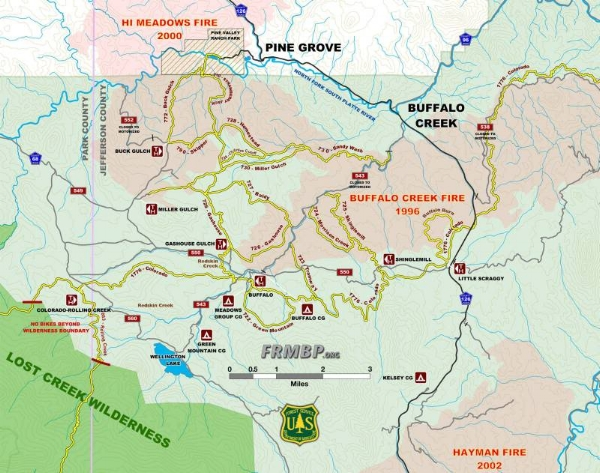 The race starts in Pine Valley Ranch Park (Hi Meadows Fire burn area) and moves into the Buffalo Creek Fire burn area.