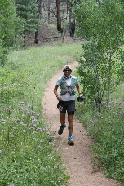 Sarah, descending into the 50k split. Photo by Andrea Stout.