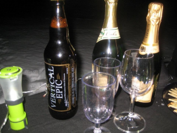 Champagne (we don't mess around!) as well as Vertical Epic Ale, courtesy of local vertical junkie Pete.