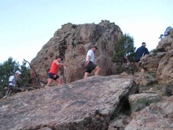 Climbing the rocks as we near the ridge's crest.